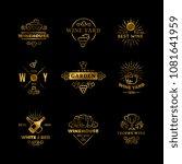 golden vector wine logos and...   Shutterstock .eps vector #1081641959