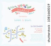 wedding card with map | Shutterstock .eps vector #1081660019