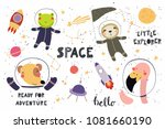 big set of cute funny animal... | Shutterstock .eps vector #1081660190