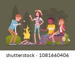 Campfire Outdoor Fun. Happy...