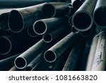 black pvc pipes stacked in... | Shutterstock . vector #1081663820