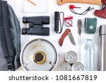 survival bug out bag. checklist ... | Shutterstock . vector #1081667819