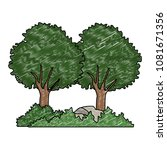 trees with bushes and rocks... | Shutterstock .eps vector #1081671356