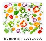 composition of fresh organic... | Shutterstock . vector #1081673990