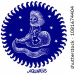aquarius horoscope astrology... | Shutterstock .eps vector #1081674404
