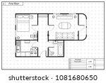 black architecture plan of... | Shutterstock . vector #1081680650