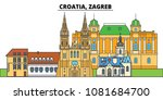 croatia  zagreb. city skyline ... | Shutterstock .eps vector #1081684700