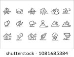 natural disaster icon set ... | Shutterstock .eps vector #1081685384