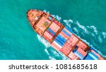 aerial top view container cargo ...   Shutterstock . vector #1081685618