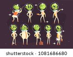 cute aliens in space suits ... | Shutterstock .eps vector #1081686680