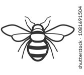 honey bee black and white icon. ... | Shutterstock .eps vector #1081691504