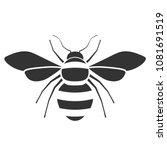 Honey Bee Black And White Icon...