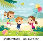illustration with kids playing... | Shutterstock .eps vector #1081695254
