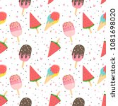 summer seamless pattern with... | Shutterstock .eps vector #1081698020
