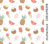 summer seamless pattern with... | Shutterstock .eps vector #1081698398