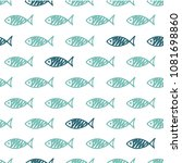 seamless pattern with fish.... | Shutterstock .eps vector #1081698860