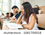 sideview of young student... | Shutterstock . vector #1081700018