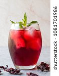 cold brew hibiscus tea with ice ... | Shutterstock . vector #1081701986
