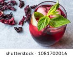 cold brew hibiscus tea with ice ... | Shutterstock . vector #1081702016