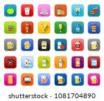 vector drink icons   beer glass ... | Shutterstock .eps vector #1081704890