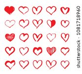 set of red hand drawn hearts.... | Shutterstock .eps vector #1081718960