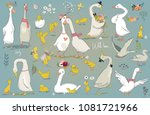 set with cute farm birds | Shutterstock .eps vector #1081721966