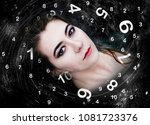 woman and numerology world | Shutterstock . vector #1081723376