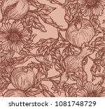 hand draw pomegranate background | Shutterstock . vector #1081748729