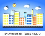 the city has many buildings in... | Shutterstock .eps vector #108175370