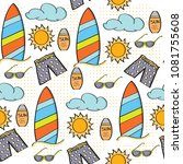 doodle cartoon seamless pattern ...   Shutterstock .eps vector #1081755608