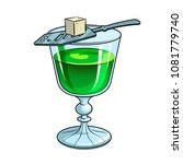 absinthe green alcohol narcotic ... | Shutterstock . vector #1081779740