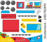 funny blue red yellow train... | Shutterstock .eps vector #1081782890