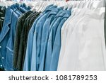 clothes on store shelves. | Shutterstock . vector #1081789253