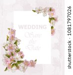 wedding frame card with cherry... | Shutterstock .eps vector #1081797026