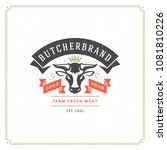butcher shop logo vector... | Shutterstock .eps vector #1081810226