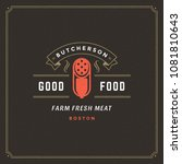 butcher shop logo design vector ... | Shutterstock .eps vector #1081810643