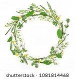 round frame wreath made of... | Shutterstock . vector #1081814468