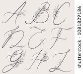vector hand drawn flowered... | Shutterstock .eps vector #1081829186