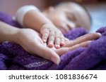 close up baby's hand put on mom'... | Shutterstock . vector #1081836674