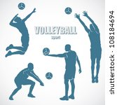 volleyball silhouettes   vector ... | Shutterstock .eps vector #108184694