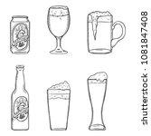 vector sketch set of beer... | Shutterstock .eps vector #1081847408