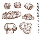 sweet bread bun sketch set of... | Shutterstock .eps vector #1081850933