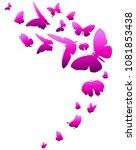 beautiful pink butterflies ... | Shutterstock .eps vector #1081853438