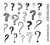 questions marks hand drawn... | Shutterstock .eps vector #1081862486