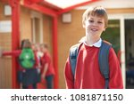 portrait of boy wearing uniform ... | Shutterstock . vector #1081871150