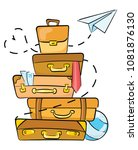 cartoon luggage for traveling.... | Shutterstock .eps vector #1081876130
