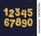 cute gold handdrawn numbers set ...   Shutterstock .eps vector #1081902986