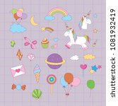 magical unicorn graphic set .a... | Shutterstock .eps vector #1081932419
