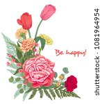 angled frame with bouquet of...   Shutterstock .eps vector #1081964954