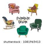 vector interior design... | Shutterstock .eps vector #1081965413